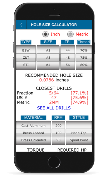 Tap Hole Size Calculator